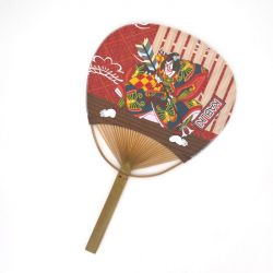 japanese non-folding fan uchiwa KABUKI, red
