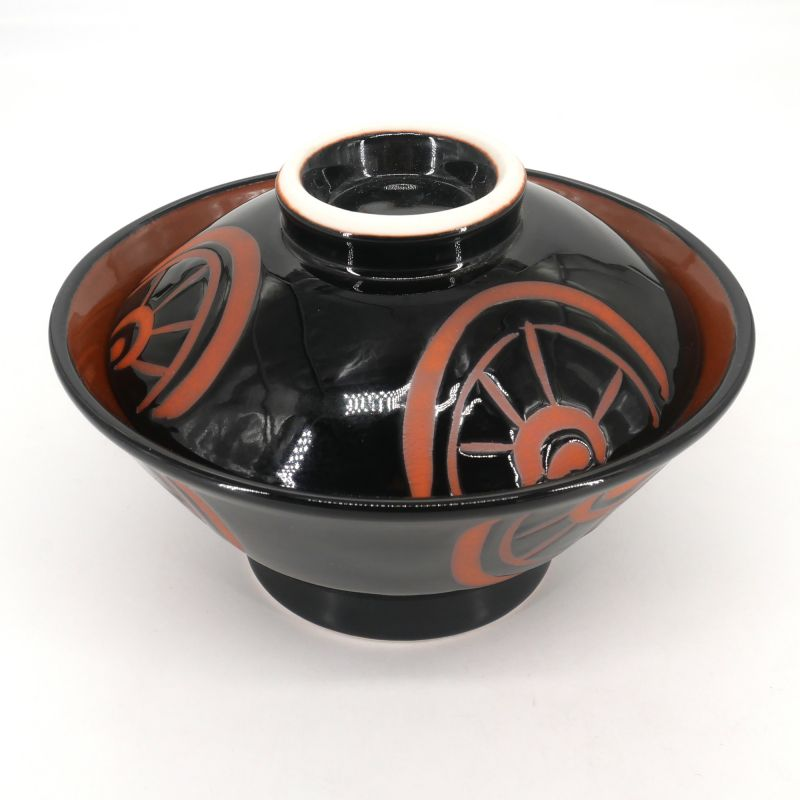 Japanese bowl with lid - FUTATSUKI - black and red