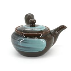 Japanese round ceramic teapot - AO POTT - black and blue