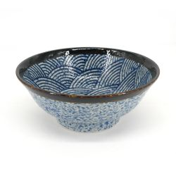 Japanese ceramic waves ramen bowl - NAMI