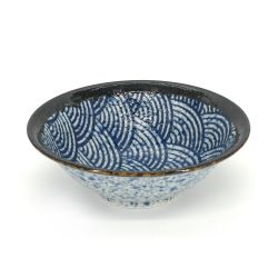 Japanese flared ceramic bowl waves - NAMI