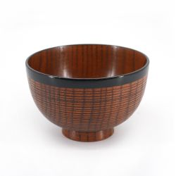 Japanese wooden bowl - MOKU - red line