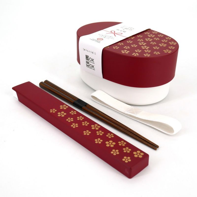 Japanese oval bento lunch box, UMEMON, red + chopsticks