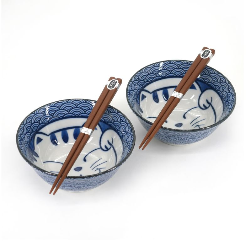 Set of 2 Japanese ceramic bowls - AO NO NEKO