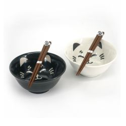Set of 2 Japanese ceramic bowls - KURO TO SHIRO NO NEKO