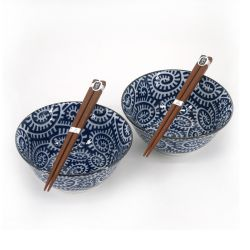 Set of 2 Japanese ceramic bowls - TAKO KARAKUSA