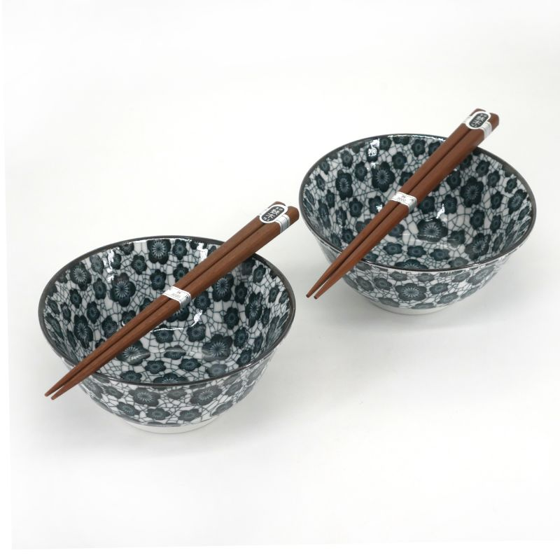 Set of 2 Japanese ceramic bowls - KURO UME