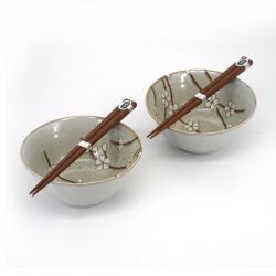 Set of 2 Japanese ceramic bowls - SHIRO SAKURA
