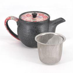 Japanese ceramic teapot - HANA - pink and gray