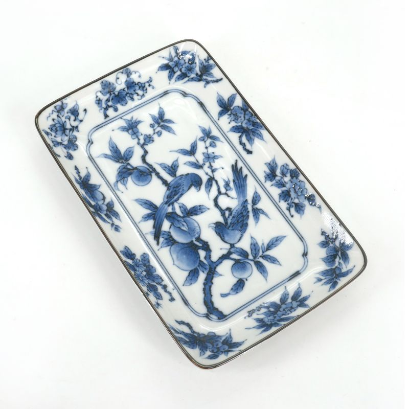 Japanese ceramic rectangle plate - UME