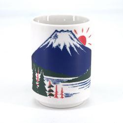 Japanese white tea cup Mount Fuji - FUJISAN