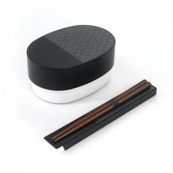 Japanese oval bento lunch box, SHIKOKU SEIGAIHA, black + chopsticks