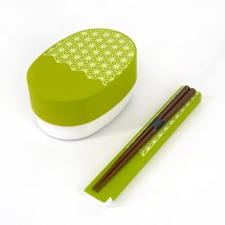 Japanese oval Bento lunch box, WAKABA ASANOHA, green + chopsticks