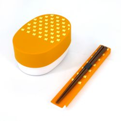Japanese oval bento lunch box, YAMABUKI NAMICHIDORI, yellow + chopsticks