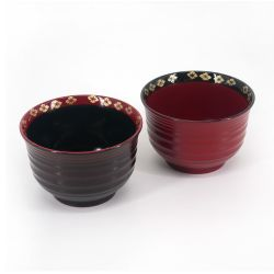 Duo of bowls in red and black resin, HANABISHI