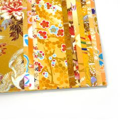Set of 12 yellow Japanese square sheets - YUZEN WASHI PAPER
