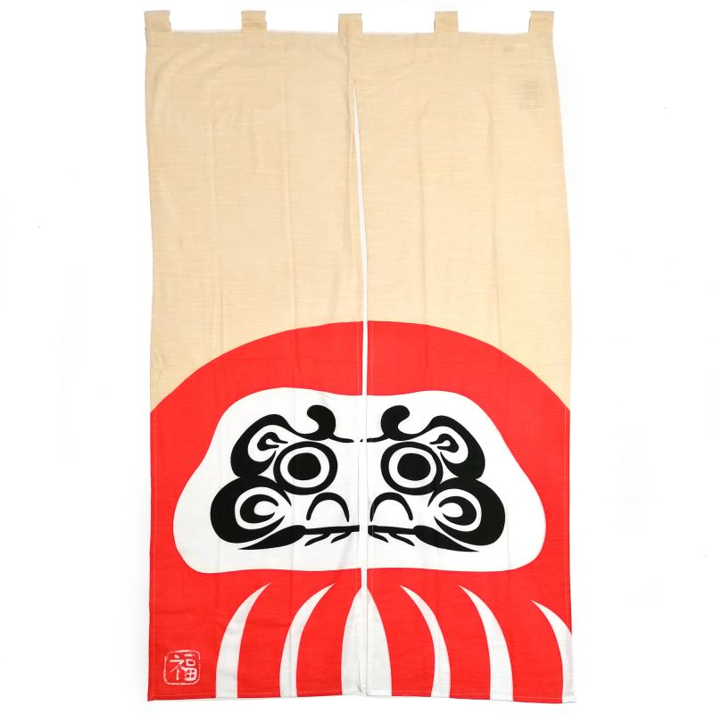 Japanese cotton curtain Noren, HAKURAI DARUMA RED