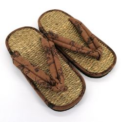 Pair of Japanese zori sandals in seagrass, FUJIN RAIJIN, brown