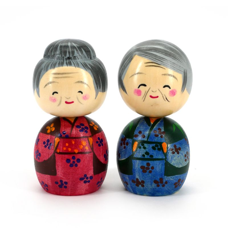 Set of 2 Japanese wooden Kokeshi dolls - NAKAYOSHI