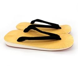 Pair of Japanese zori sandals in non-slip rubber, KURO, black
