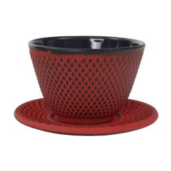 Japanese cast iron tea cup - RED ARARE