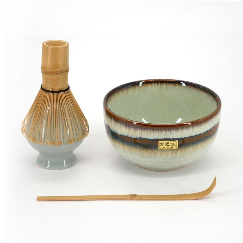 green japanese tea ceremony set in ceramic 4 pieces MATCHA