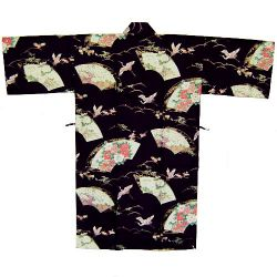 Happi black Japanese cotton kimono for women with cranes patterns SENMEN-NI-TSURU