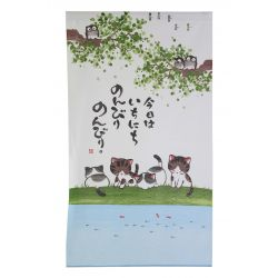 green japanese noren curtain in polyester, NONBIRINEKO, cats