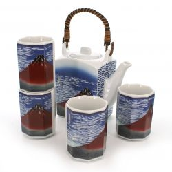 Japanese tea set - 1 teapot and 4 cups, GAIFÛKAISEI, mount fuji