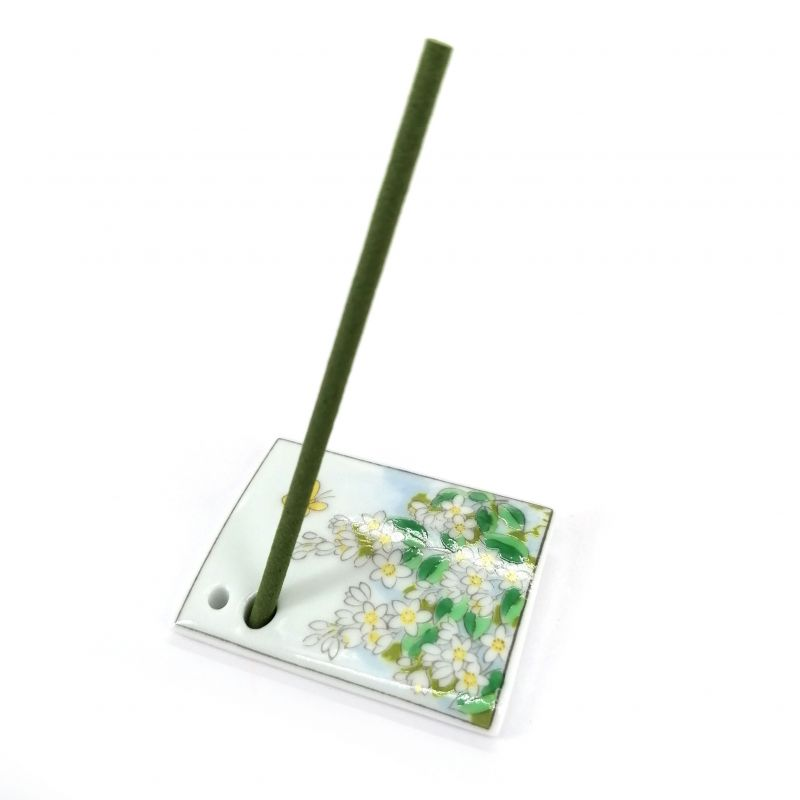 Japanese porcelain incense holder - UNOHANA - White Lilac