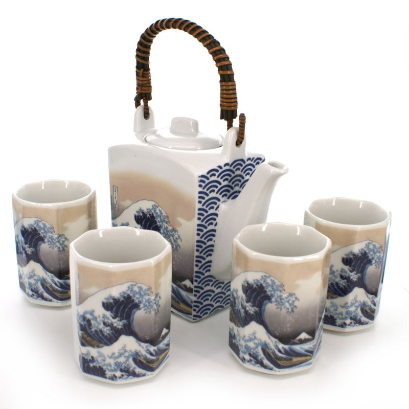 Japanese tea set - 1 teapot and 4 cups, KANAGAWA URANAMI, vague