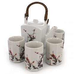 Japanese tea set - 1 teapot and 4 cups, FURUKI UME, plum flowers