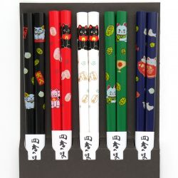 set of 5 pairs of Japanese chopsticks, MANEKINEKO, multicolored