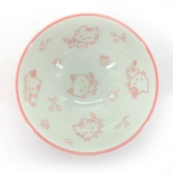 Japanese rice bowl in ceramic pink cat - PINKU FUKU SAKANA