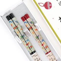 Japanese red black chopsticks set in wood TOMUSONBAKO MANEKINEKO