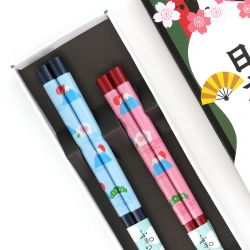 Japanese red blue chopsticks set in wood TOMUSONBAKO SHICHI FUKUDARUMA