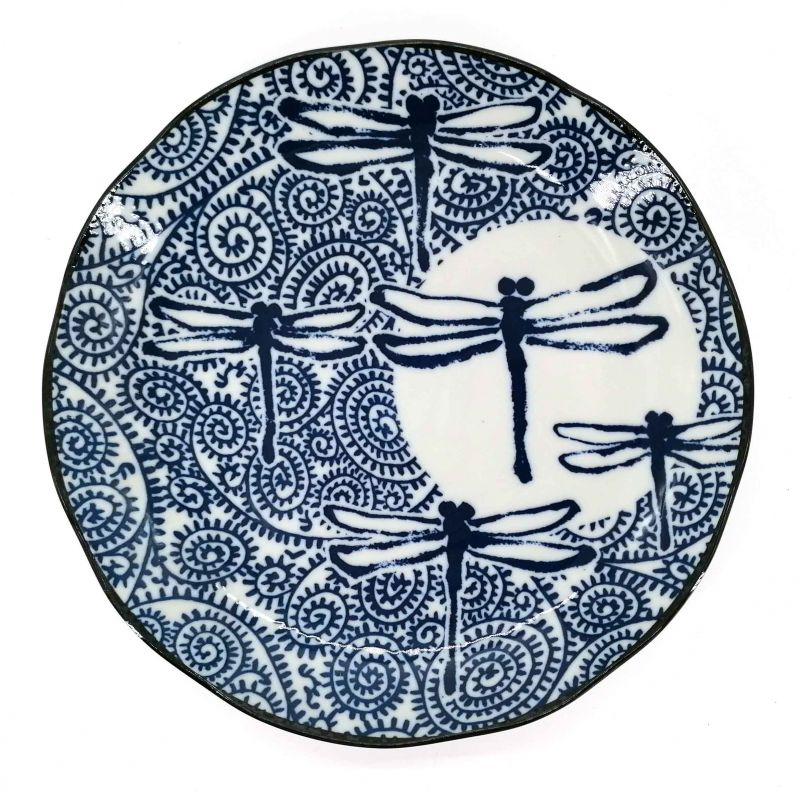 Japanese ceramic plate with dragonfly TOMBO