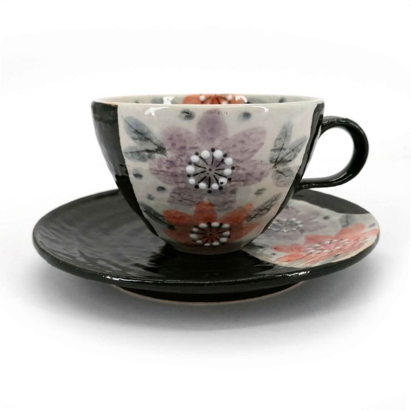 Ceramic tea cup with handle and saucer, black and flowers - HANA