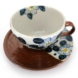 Ceramic tea cup with handle and saucer, brown and flowers - AOI HANA