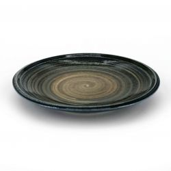 Small Japanese ceramic plate with brown circles - CHAIRO NO EN