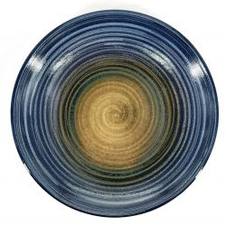 Small Japanese blue and green spiral ceramic plate - RASEN