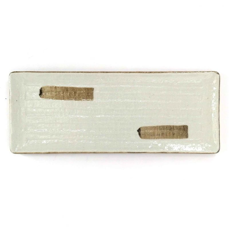 Japanese rectangular plate in white and brown ceramic - TOKUCHO