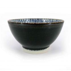 Japanese donburi bowl in brown and blue ceramic - UZU
