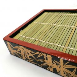 Square lacquered plate with bamboo support - ZARU SOBA