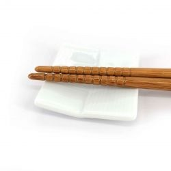 Japanese ceramic chopsticks rest, braided square white, AMI KOMI