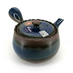 Japanese kyusu teapot in brown and blue ceramic with removable filter - ENAMERUSUTEIN