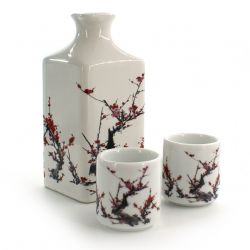 service à saké bouteille et 2 tasses, FURUKI UME, fleurs de prune
