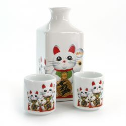 sake service 1 bottle and 2 cups, MANEKINEKO, cat