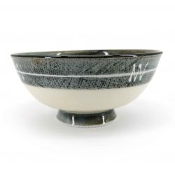 Beige Japanese rice bowl with gray border and white line - RAIN