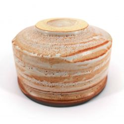 Bowl for Japanese tea ceremony in ceramic, striped white and orange - SHIMA